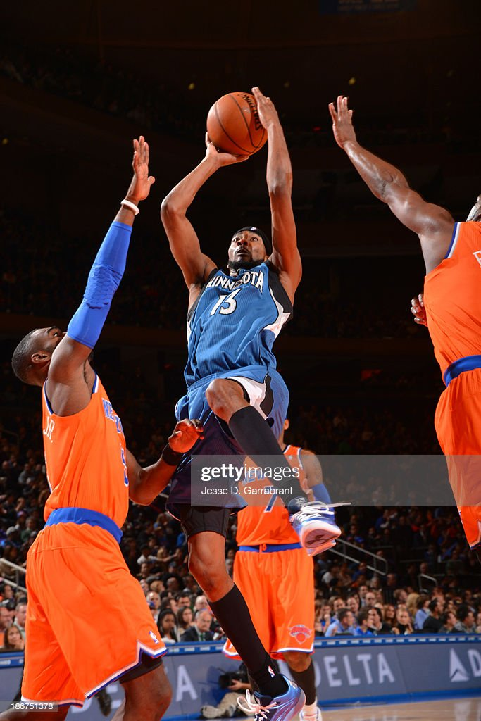 Corey Brewer #13 of the Minnesota Timberwolves goes to the basket against the New York Knicks on November 3, 2013 at Madison Square Garden in New York City, New York.