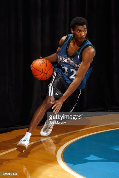 Corey Brewer of the Minnesota Timberwolves poses for an action portrait during the 2007 NBA Rookie Photo Shoot on July 27 2007 at the MSG Training...