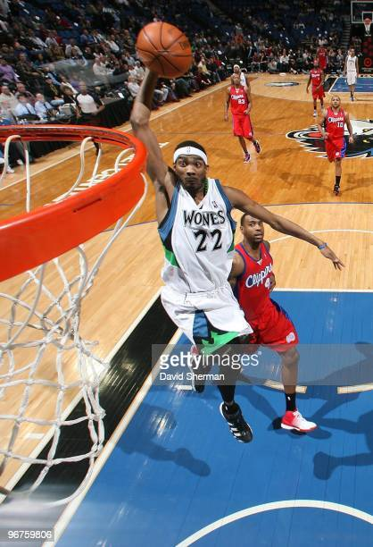 Corey Brewer of the Minnesota Timberwolves takes the ball to the basket against the Los Angeles Clippers during the game on January 29 2010 at the...