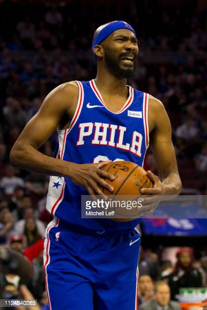 Corey Brewer of the Philadelphia 76ers reacts against the San Antonio Spurs at the Wells Fargo Center on January 23 2019 in Philadelphia Pennsylvania...