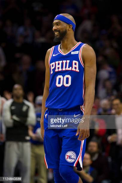 Corey Brewer of the Philadelphia 76ers smiles against the San Antonio Spurs at the Wells Fargo Center on January 23 2019 in Philadelphia Pennsylvania...
