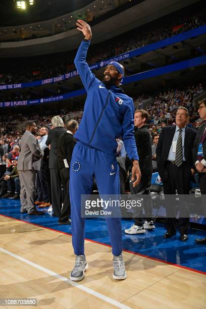 Corey Brewer of the Philadelphia 76ers warms up prior to the game against the San Antonio Spurs on January 23 2019 at the Wells Fargo Center in...