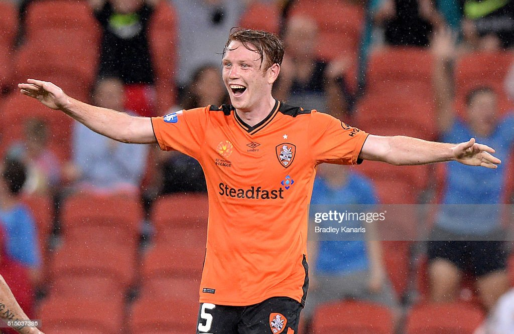 Corey Brown of the Roar celebrates scoring a goal during the round 23 A-League match between the Brisbane Roar and Melbourne Victory at Suncorp Stadium on March 12, 2016 in Brisbane, Australia.
