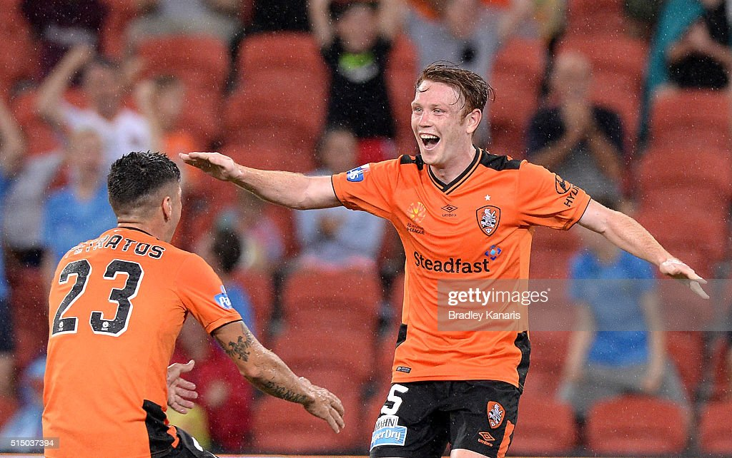 Corey Brown of the Roar celebrates with team mates after scoring a goal during the round 23 A-League match between the Brisbane Roar and Melbourne Victory at Suncorp Stadium on March 12, 2016 in Brisbane, Australia.
