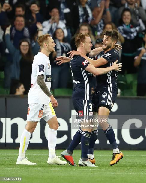 Corey Brown of the Victory celebrates after scoring a goal during the round four ALeague match between the Melbourne Victory and the Central Coast...