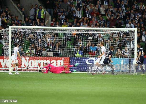 Corey Brown of the Victory scores during the round four ALeague match between the Melbourne Victory and the Central Coast Mariners at AAMI Park on...