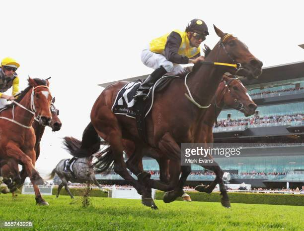 Corey Brown on In Her Time wins race 6 the Premier Stakes during Sydney Racing at Royal Randwick Racecourse on September 30 2017 in Sydney Australia