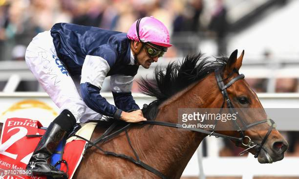 Corey Brown rides Rekindling to win race 7 the Emirates Melbourne Cup during Melbourne Cup Day at Flemington Racecourse on November 7 2017 in...