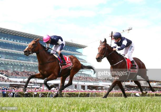 Corey Brown rides Rekindling to win race seven the Emirates Melbourne Cup during Melbourne Cup Day at Flemington Racecourse on November 7 2017 in...