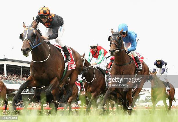 Corey Brown riding Shocking celebrates as he wins the Emirates Melbourne Cup during the 2009 Melbourne Cup Day meeting at Flemington Racecourse on...