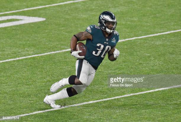 Corey Clement of the Philadelphia Eagles carries the ball against the New England Patriots during Super Bowl LII at US Bank Stadium on February 4...