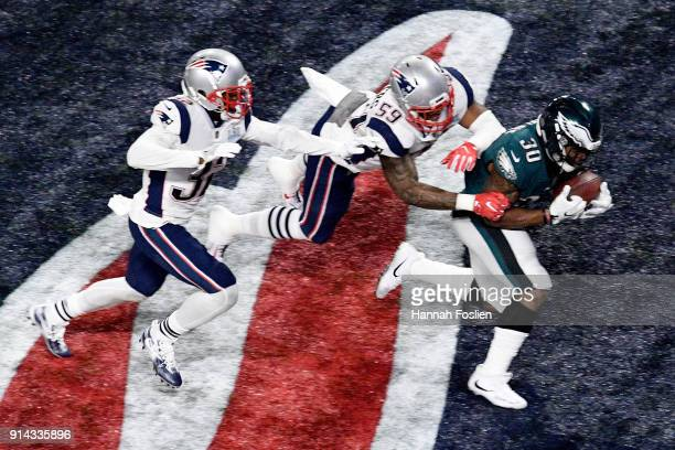 Corey Clement of the Philadelphia Eagles catches a 22yard touchdown pass against the New England Patriotsduring the third quarter in Super Bowl LII...