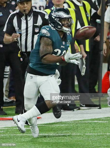Corey Clement of the Philadelphia Eagles catches a pass against the New England Patriots during Super Bowl Lll at US Bank Stadium on February 4 2018...