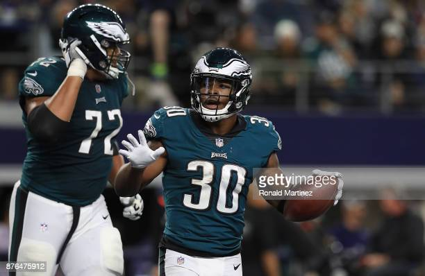Corey Clement of the Philadelphia Eagles celebrates after scoring in the third quarter against the Dallas Cowboys at ATT Stadium on November 19 2017...