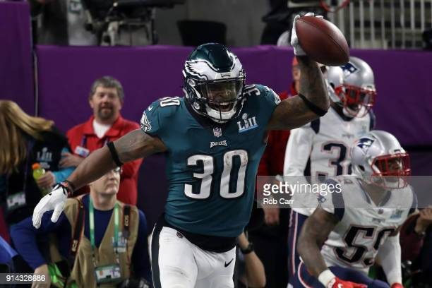 Corey Clement of the Philadelphia Eagles celebrates his 22yard touchdown reception against the New England Patriots in the third quarter of Super...