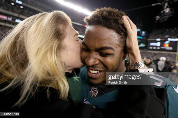 Corey Clement of the Philadelphia Eagles celebrates his teams win in the NFC Championship game against the Minnesota Vikings at Lincoln Financial...