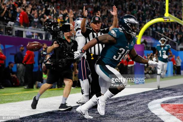Corey Clement of the Philadelphia Eagles celebrates scoring a 22yard touchdown reception against the New England Patriots in the third quarter of...