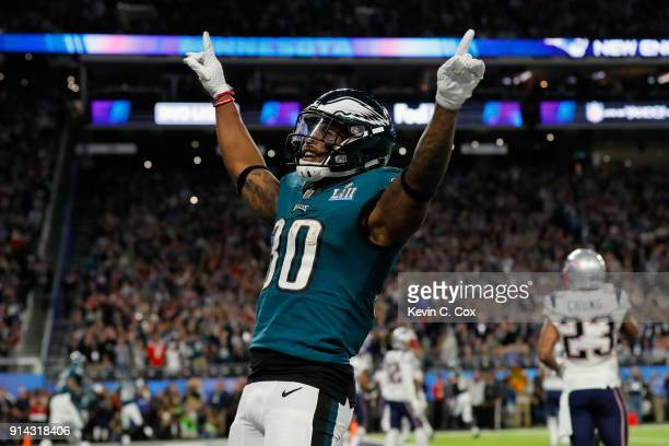 Corey Clement of the Philadelphia Eagles celebrates the play against the New England Patriots during the second quarter in Super Bowl LII at US Bank...