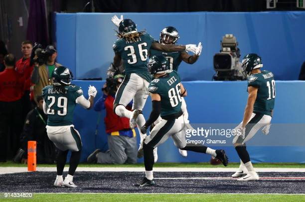 Corey Clement of the Philadelphia Eagles celebrates with Jay Ajayi LeGarrette Blount Zach Ertz and Mack Hollins after a 22yard touchdown catch...