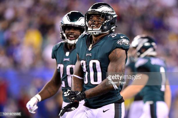 Corey Clement of the Philadelphia Eagles reacts after tackling Odell Beckham of the New York Giants during a punt return in the second quarter at...
