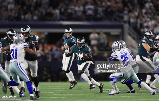 Corey Clement of the Philadelphia Eagles runs the ball against the Dallas Cowboys at ATT Stadium on November 19 2017 in Arlington Texas