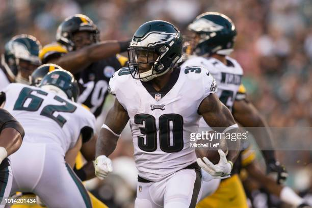 Corey Clement of the Philadelphia Eagles runs with the ball in the first quarter of the preseason game against the Pittsburgh Steelers at Lincoln...