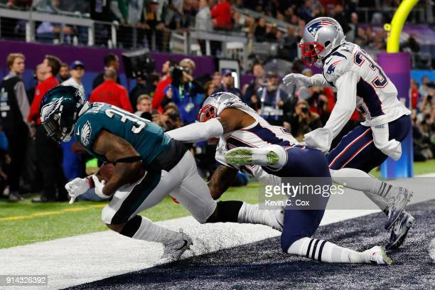 Corey Clement of the Philadelphia Eagles scores a 22-yard touchdown reception against the New England Patriots in the third quarter of Super Bowl LII...