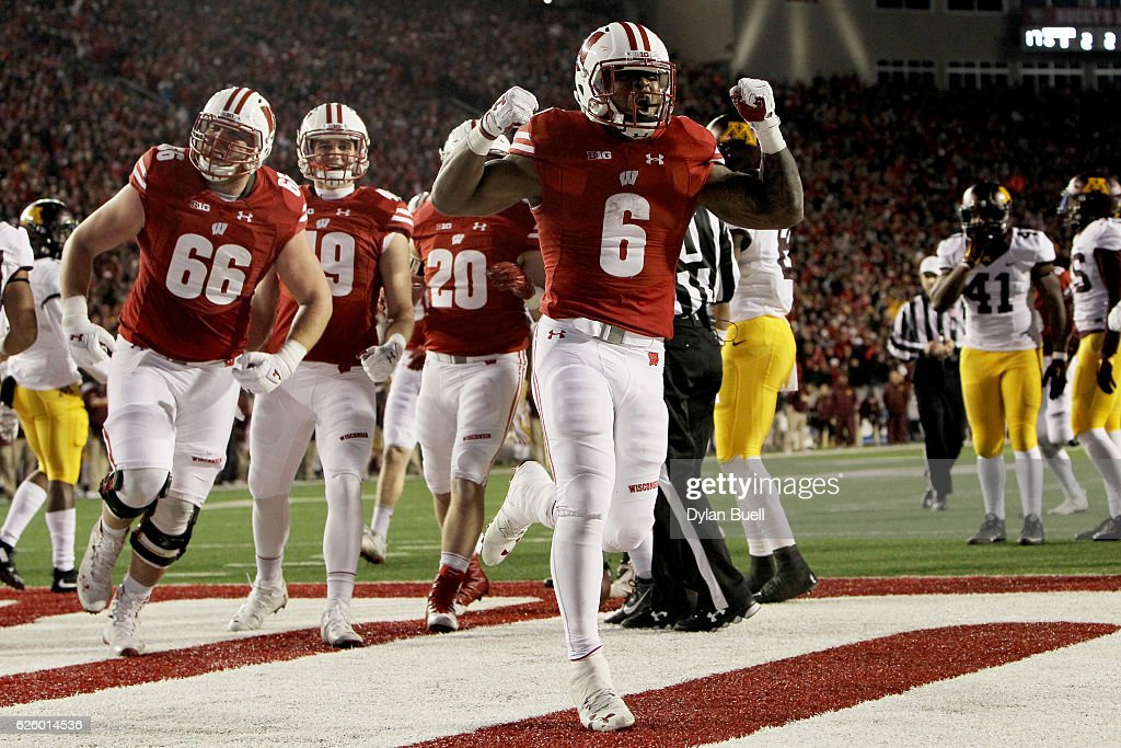 Corey Clement #6 of the Wisconsin Badgers celebrates after scoring a touchdown in the fourth quarter against the Minnesota Golden Gophers at Camp Randall Stadium on November 26, 2016 in Madison, Wisconsin.