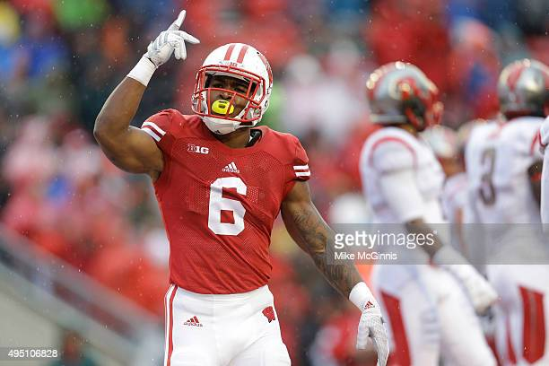 Corey Clement of the Wisconsin Badgers celebrates after scoring a touchdown during the first half against the Rutgers Scarlet Knights at Camp Randall...