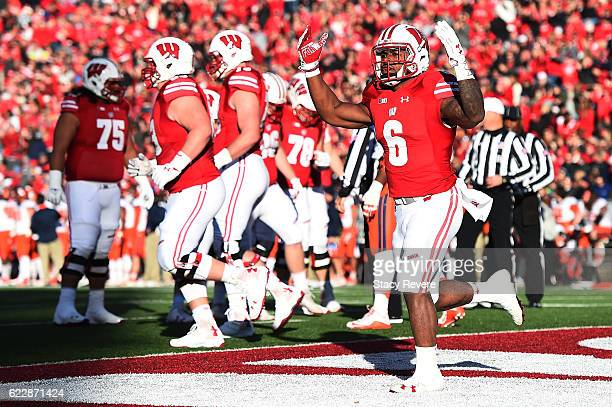 Corey Clement of the Wisconsin Badgers reacts to a touchdown during the first half of a game against the Illinois Fighting Illini at Camp Randall...