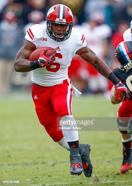Corey Clement of the Wisconsin Badgers runs the ball against the Purdue Boilermakers at RossAde Stadium on November 8 2014 in West Lafayette Indiana