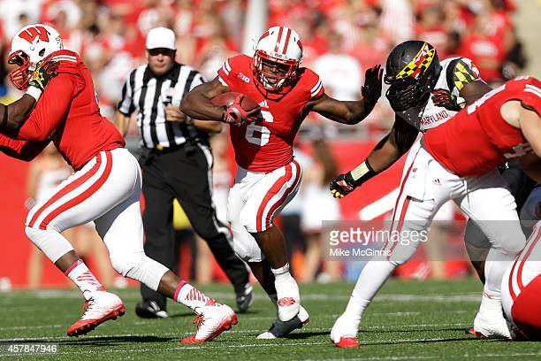 Corey Clement of the Wisconsin Badgers runs with the football during the fourth quarter against the Maryland Terrapins at Camp Randall Stadium on...