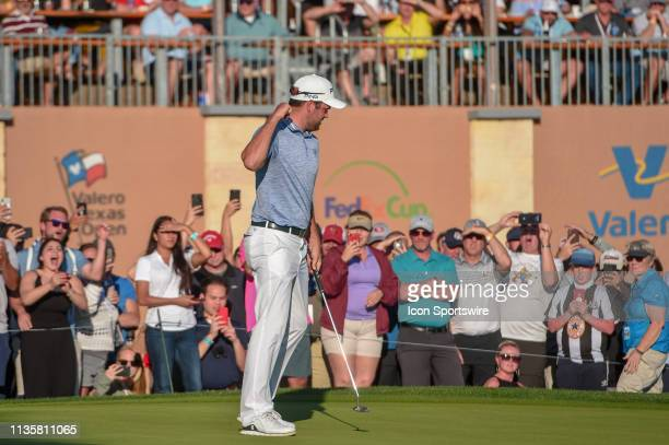 Corey Conners celebrates after sinking a putt on the 18th hole during the final round of the Valero Texas Open on April 7 2019 at the TPC San Antonio...