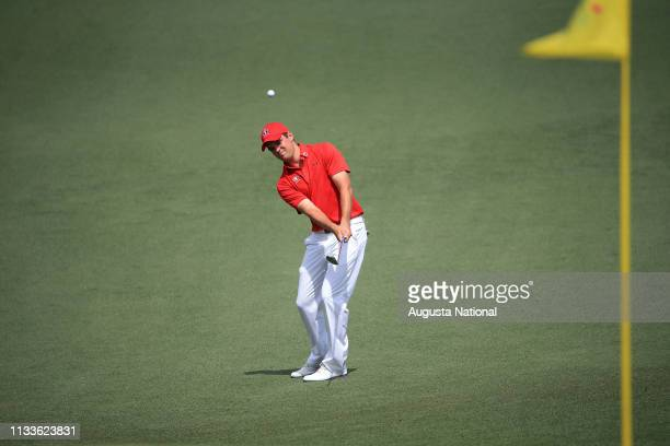 Corey Conners of Canada chips to No 2 during the second round of the Masters at Augusta National on Friday April 10 2015