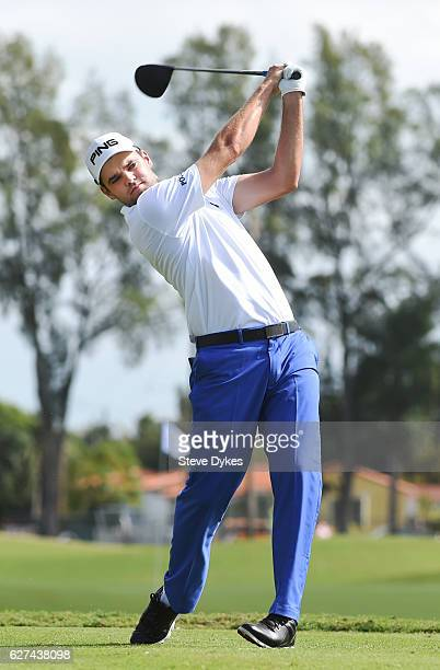 Corey Conners of Canada hits his drive on the third hole during the third round of the Shell Championship at the International Links Melreese Country...