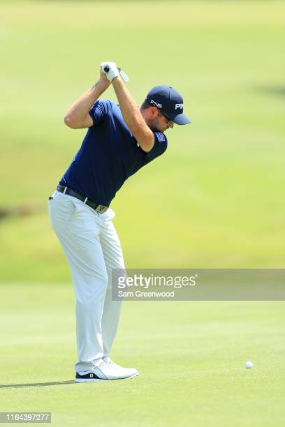 Corey Conners of Canada hits his second shot on the 10th hole during the second round of the World Golf ChampionshipFedEx St Jude Invitational on...
