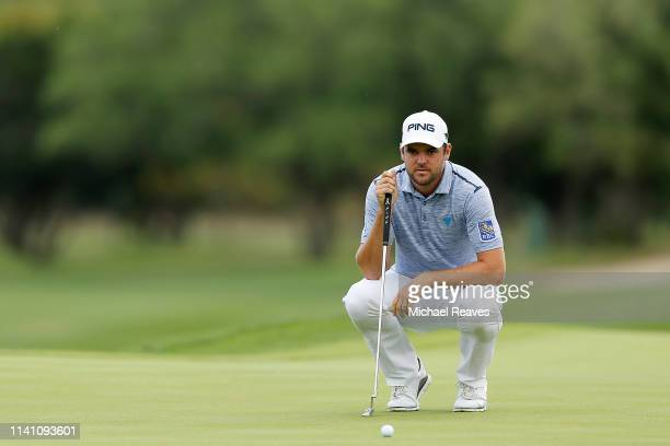 Corey Conners of Canada looks over a putt on the 12th green during the final round of the 2019 Valero Texas Open at TPC San Antonio Oaks Course on...