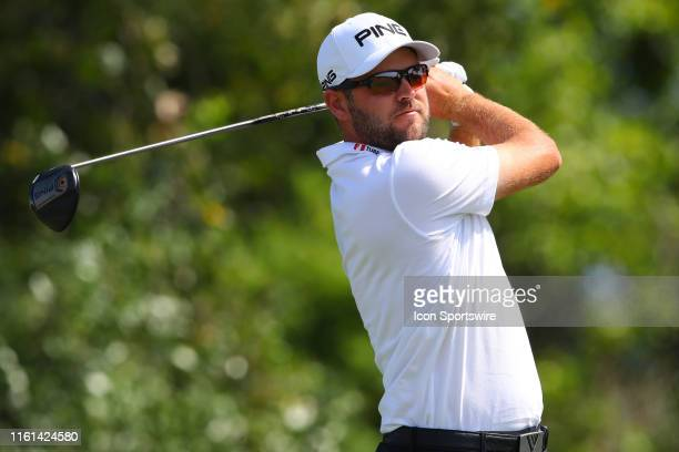 Corey Conners of Canada on the 16th tee during THE NORTHERN TRUST golf tournament on August 11 2019 at Liberty National Golf Club in Jersey City NJ
