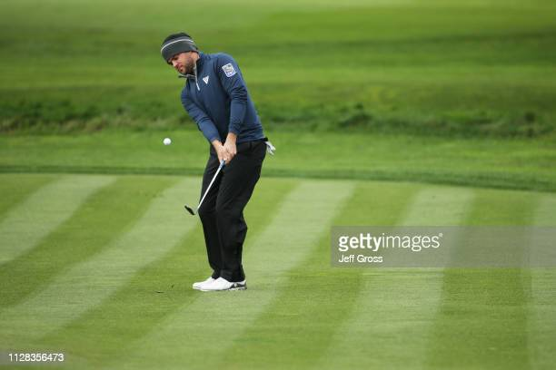 Corey Conners of Canada plays a shot on the second hole during the second round of the ATT Pebble Beach ProAm at Pebble Beach Golf Links on February...