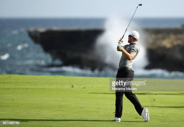 Corey Conners of Canada plays his second shot on the 18th hole during round three of the Corales Puntacana Resort Club Championship on March 24 2018...