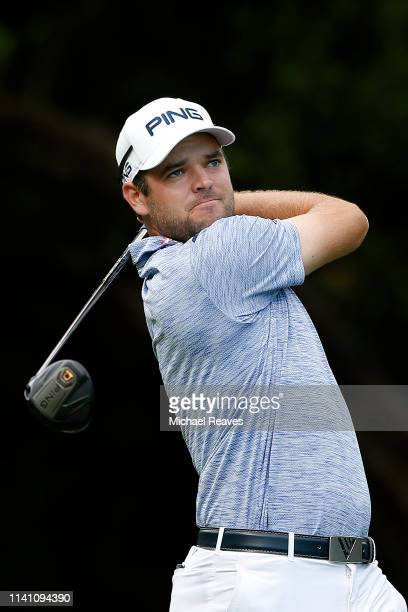 Corey Conners of Canada plays his shot from the 14th tee during the final round of the 2019 Valero Texas Open at TPC San Antonio Oaks Course on April...
