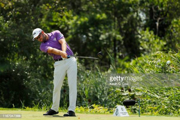 Corey Conners of Canada plays his shot from the 16th tee during the second round of The Northern Trust at Liberty National Golf Club on August 09...