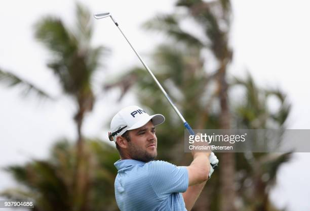 Corey Conners of Canada plays his shot from the 17th tee during the final round of the Corales Puntacana Resort Club Championship on March 25 2018 in...