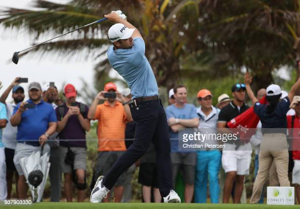 Corey Conners of Canada plays his shot from the 18th tee during the final round of the Corales Puntacana Resort Club Championship on March 25 2018 in...