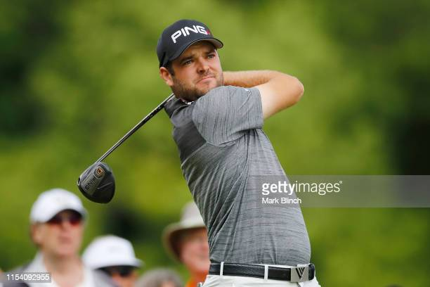 Corey Conners of Canada plays his shot from the fourth tee during the first round of the RBC Canadian Open at Hamilton Golf and Country Club on June...