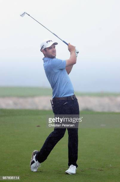 Corey Conners of Canada plays his shot from the ninth tee during the final round of the Corales Puntacana Resort Club Championship on March 25 2018...