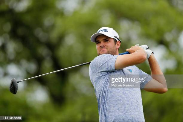 Corey Conners of Canada plays his shot from the second tee during the final round of the 2019 Valero Texas Open at TPC San Antonio Oaks Course on...