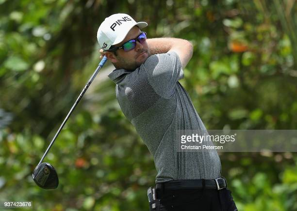 Corey Conners of Canada plays his shot from the seventh tee during round three of the Corales Puntacana Resort Club Championship on March 24 2018 in...