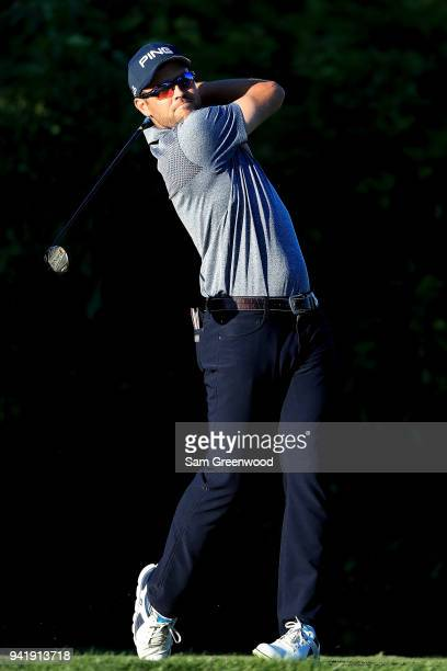 Corey Conners of Canada plays his shot from the seventh tee during the second round of the Valspar Championship at Innisbrook Resort Copperhead...