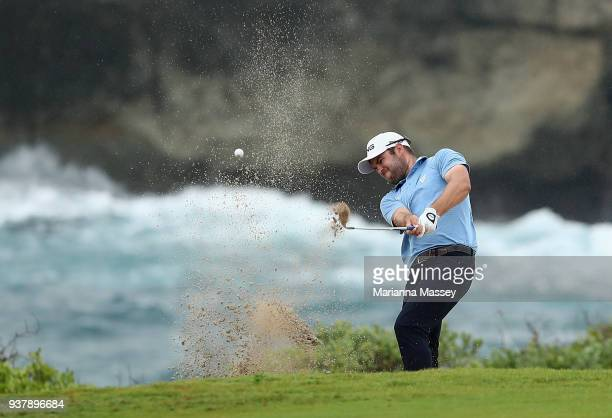 Corey Conners of Canada plays his shot on the 18th hole during the final round of the Corales Puntacana Resort Club Championship on March 25 2018 in...
